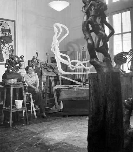 Fig. 1. Anonymous, Maria Martins in her New York studio, c.1946, Gelatin-silver print, courtesy of Francis M. Naumann Fine Art, New York